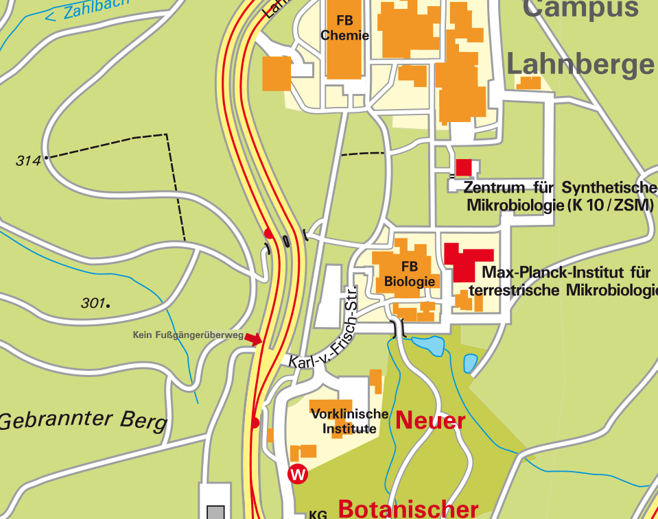 How to find us at the Campus Lahnberge in Marburg